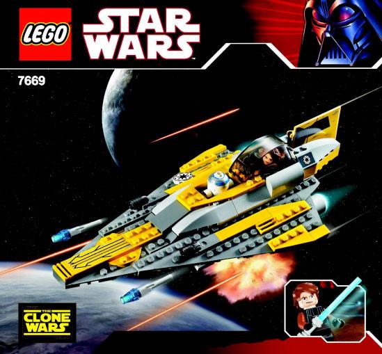 7669 2 Anakins Jedi Starfighter Clone Wars White Box Swooshable