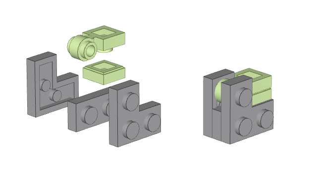 Inverted brick with clip - Swooshable