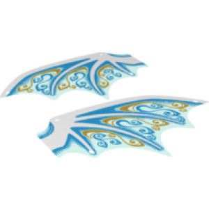 Plastic Wing Dragon with White Spines, Dark Azure and Gold Scrollwork and White Sparkles Pattern, Sheet of 2