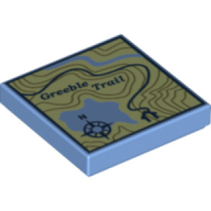Tile 2 x 2 with Topographical Trail Map with Compass and 'Greeble Trail' Print