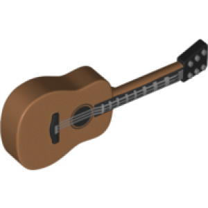 Acoustic Guitar with Black Neck and Silver Strings Print