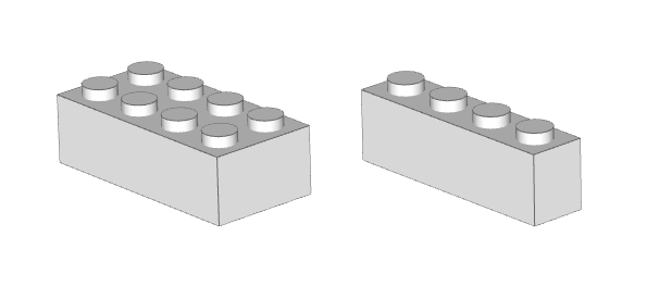 Two basic bricks with studs up