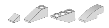 Examples of slopes: 1x1 cheese slope, 1x3, 1x3 inverted, 1x3 curved