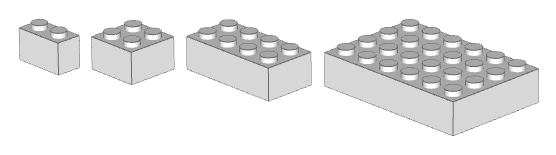 A variety of bricks: 2x4, 2x2, 1x2 and 4x6