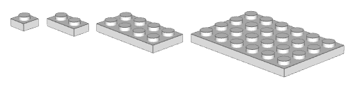 A variety of plates: 1x1, 1x2, 2x4 and 4x6