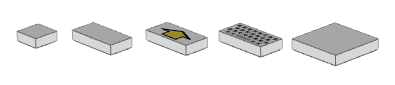 Some tiles: 1x1, 1x2 with arrow, 1x2 with keyboard, 2x2
