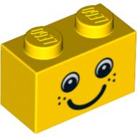 This is also a 1x2 brick, but yellow with a smiley face print.